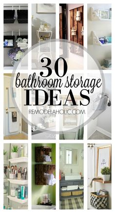 Make your bathroom beautiful and organized with some great bathroom storage ideas! Find new ideas to store all your bathroom items from towels to cotton balls. 30 Bathroom Storage Ideas via Remodelaholic.com