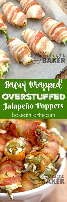 Bacon Wrapped Jalapeño peppers stuffed to the max with a delicious cheese combo. Bacon Wrapped Jalapeño peppers stuffed to the max with a delicious cheese combo and wrapped in smoky bacon Popular Appetizers, Appetizers For Party, Appetizer Recipes, Dinner Recipes, Party Snacks, Snack Recipes, Bacon Wrapped Jalapeno Poppers, Stuffed Jalapenos With Bacon, Stuffed Peppers