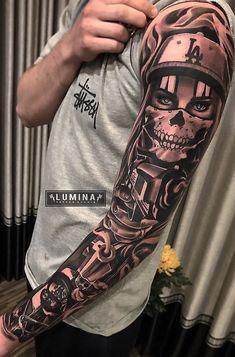 As mangas de tatuagens mais legais para os homens Tattoo Gangster Tattoos, Dope Tattoos, Full Arm Tattoos, Forarm Tattoos, Badass Tattoos, Leg Tattoos, Body Art Tattoos, Chicano Tattoos Gangsters, Cholo Tattoo