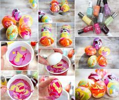 Nail Polish Marbled Eggs These are beautiful!  Can't wait to make some for Easter!