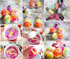Nail Polish Marbled Eggs