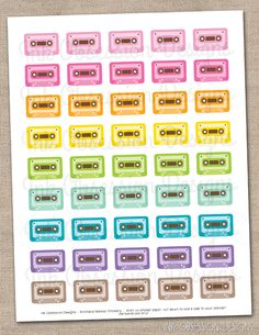 Cassette Tapes Printable Planner Sticker PDF Instant Download 80's Music