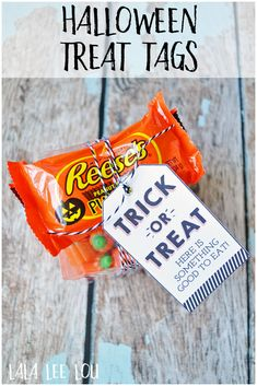 Halloween Treat Tags. Deliver some cute and delicious Halloween treats with these fun Halloween Treat Tags from Lala Lee Lou. Free Printable! via @https://www.pinterest.com/lalaleeloublog/