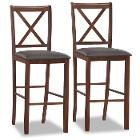 Leick Furniture Leick Wood Crossback Bar Stool - Set of 2 w/Ebony Faux Leather Seat Black
