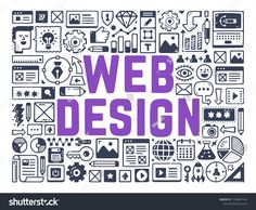 Web Design, Webdesign Development, Creating Webpage - Illustration with Hand Drawn Icons.
