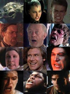 Oh my gosh! Yoda and leia's face! <><> And Rey's! XD Poe's the only normal one.