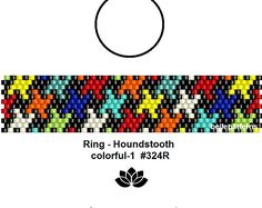 peyote ring pattern,PDF-Download, instant download,houndstooth,ring #324R,2 variants, beading pattern, beading tutorials, ring pattern