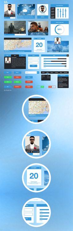 Blue UI Kit #freeuikits #uikits #psdelements #uidesign #webui #mobileui #elements