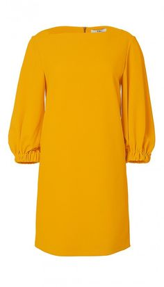 This structured crepe shift dress is an easy, classic way to incorporate the statement sleeve trend into your wardrobe. Style with sandals for day or heels for a classic evening look. Body lined. Tibi Dresses, Dresses With Sleeves, Shift Dresses, Structured Dress, Boat Neck Dress, Work Looks, Crepe Fabric, Orange Dress, Crepe Dress