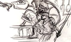 Glen Keane design for Silver and Jim from Treasure Planet