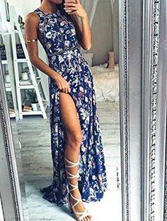 Blue Floral Print Halter Neck Backless Split Maxi Dress