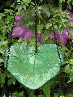 Hanging Concrete Leaf Bird Feeder/ Mini bird bath/ garden decor