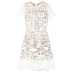 SELF-PORTRAIT Patchwork embellished lace dress (4 270 ZAR) ❤ liked on Polyvore featuring dresses, white, white sequin cocktail dress, evening dresses, cocktail dresses, short white cocktail dress and white evening dresses