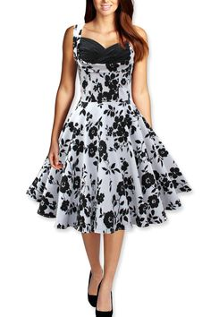 Black Butterfly Vintage Style 1950's Rockabilly Wedding Prom Pinup Dress (White & Black, 12)