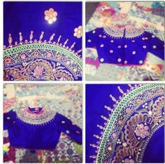 Royal blue saree blouse designs #indianclothes