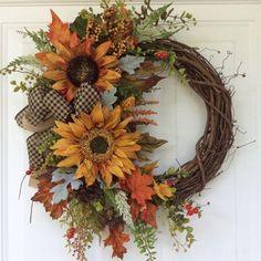 Fall Wreath for Front Door-Sunflower by ReginasGarden on Etsy - Arts & Crafts Ideas - Autumn Wreaths For Front Door, Country Wreaths, Holiday Wreaths, Winter Wreaths, Fall Front Doors, Holiday Signs, Mesh Wreaths, Front Porch, Diy Wreath