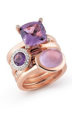 Al Coro - Pink Gold, Amethyst and Diamonds ring - Al Coro: Designer Giuliano Corolli first entered the world of jewellery design at the VicenzaOro fair in 1964 and went on to launch his brand shortly after. His mission was to create modern, innovative and timeless designs for women, a vision that remains true today.