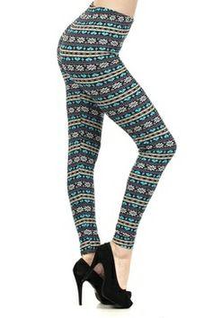 Blue Print Fleece Leggings