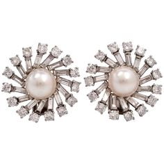 Pearl Diamond Platinum Sunburst Cluster Clip-On Earrings | From a unique collection of vintage clip-on earrings at https://www.1stdibs.com/jewelry/earrings/clip-on-earrings/