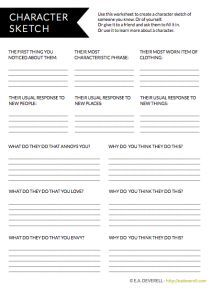 Character Writing Worksheet