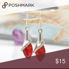 Red Crystal Sterling Silver Plated New Brand New  Hypoallergenic Nickel Free  Great for Sensitive Skin zdazzled Jewelry Earrings