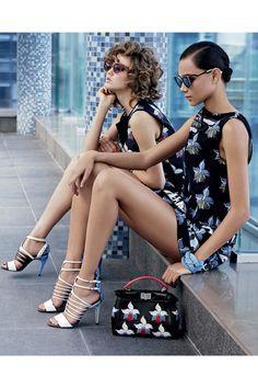 """ Lindsey Wixson & Binx Walton for Fendi Spring/Summer 2015 Advertising Campaign, ph. by Karl Lagerfeld. Teen Vogue, Printemps Street Style, Lindsey Wixson, Podium, Runway Fashion, Womens Fashion, Fashion Glamour, Denim Fashion, Teen Fashion"