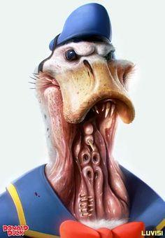 donald duck Popped Culture – 20 personnages cultes mis à mal par l'illustrateur Dan Luvisi…