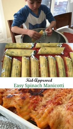 This vegetarian spinach manicotti is so easy and delicious.  Kids will love helping stuff the shells almost as much as they enjoy eating it!