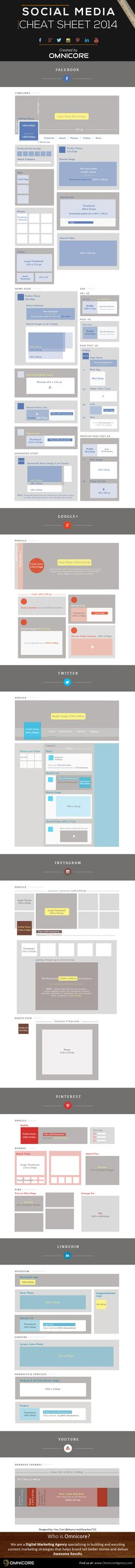 #socialmedia #infographic #marketing #bumblebeesocialmedia  GooglePlus, Twitter, YouTube, LinkedIn - Complete Social Media Sizing Cheat Sheet - infographic
