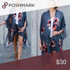 "Floral print kimono Boho chic floral kimono Color: Gray One size  Measurements: 38"" x 46"" Material: 100% viscose Accessories Scarves & Wraps"