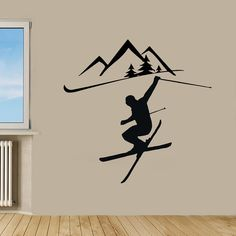 Winter Sport Wall Decals Mountains Man Boy by WallDecalswithLove