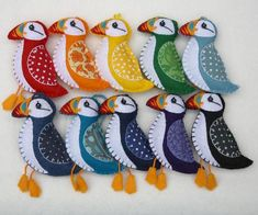 Felt puffin ornaments