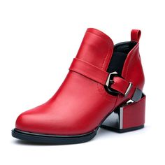 Women's Ankle Boots Stitching Elastic Buckle Warm Thick Low Stacked Heel dress Boots By Btrada * Find out more details by clicking the image : Desert boots