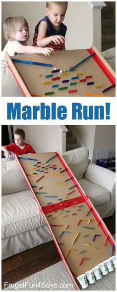 An epic activity for a rainy day! A oversized marble run! Fun project for kids to make and keep busy for hours!