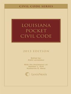Louisiana Pocket Civil Code, 2013 Edition by Publisher's Editorial Staff. $14.30