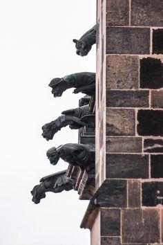 Prague gargoyles by Dara Pilugina, Prague, Czech Republic Architecture Old, Architecture Details, Statues, Gothic Gargoyles, Medieval, Gothic Buildings, Masonry Wall, Prague Czech Republic, Sculpture