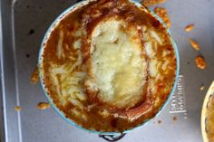 French onion soup recipe. A rustic dish for a dinner party or themed birthday.