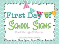 First Day of School Photo Prop Signs