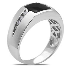 Ebay NissoniJewelry presents - Men's 1/7CT Diamond Onyx Ring in 10k White Gold with a Cage Back Model Number:GR9177C-W077OX http://www.ebay.com/itm/Men-s-1-7CT-Diamond-Onyx-Ring-in-10k-White-Gold-with-a-Cage-Back/321612114520