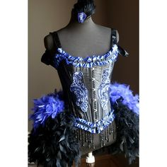 BLACK IRIS Adult HALLOWEEN sexy blue Burlesque Corset Costume (215 AUD) ❤ liked on Polyvore featuring costumes, sexy costumes, sexy burlesque costumes, adult halloween costumes, blue halloween costume and sexy adult costumes