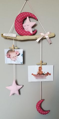 Photo baby boy mobile Driftwood home decor gift - Aurelie Lartigaut - Photo Boy Mobile, Baby Boy Photos, Fabric Pictures, Hanging Pictures, Hang Photos, Driftwood, Baby Love, Baby Gifts, Diy And Crafts