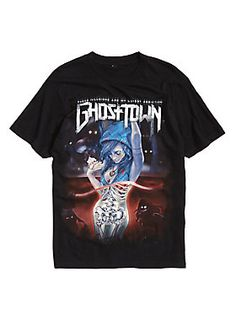 """<p>Black T-shirt from Ghost Town with a large """"These Illusions Are My Latest Addiction"""" inspired illustration & logo design on front.</p><ul><li>100% cotton</li><li>Wash cold; dry low</li><li>Imported</li><li>Listed in men's sizes</li></ul>"""