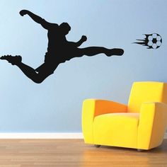 Soccer Player Vinyl Wall Decal (product ID: s07)    ORIENTATION:  Write as shown (Facing right), or mirror image (Facing left) in the note to