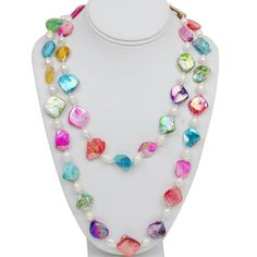 """46"""" Amazing Multi-Color Genuine Freshwater Pearl and Shell Pearls Necklace"""