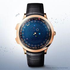 文字盤の上で「宇宙」を再現する腕時計 // 3年の歳月をかけて、ジュエリーメーカー「Van Cleef & Arpels」が製作したのは、これまで誰も見たことがないほど美しく神秘的な腕時計でした。 「Midnight Planétarium(真夜中のプラネタリウム)」と呼ばれるこの時計には、秒針も分針もありません。あるのは太陽系を連想させる6つの美しい宝石たち。