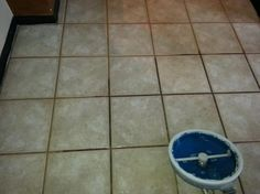 Grout Cleaner:  7 cups water, 1/2 cup baking soda, 1/3 cup lemon juice and 1/4 cup vinegar - throw in a spray bottle and spray your floor, let it sit for a minute or two... then scrub