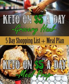 A super simple way to eat a ketogenic diet on $5 a day. Full meal plan and shopping list in blog post!