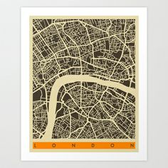 London Map Art Print by Jazzberry Blue - $19.00