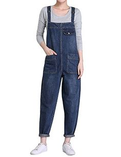 Abetteric Women Slim Fit Flare Rompers Ankle Jeans Washed Fashion Bib Overalls