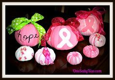 Easy Pink Painted Pumpkins for Breast Cancer Awareness http://www.onesaltykiss.com/easy-painted-pumpkins-for-breast-cancer-awareness/ #breastcancerawareness #31daysofpink #write31days